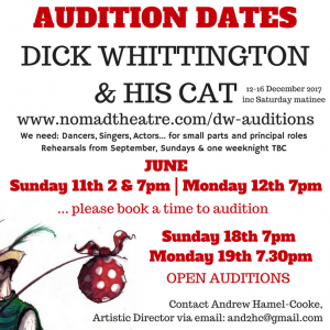 dick whittington auditions june 2017 nomad theatre surrey east horsley pantomime